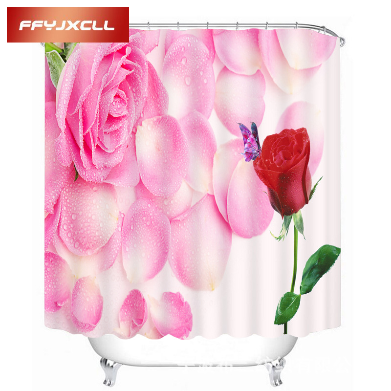 New Pink Rain Dew Roses Pattern Waterproof Shower Curtain Eco-Friendly Polyester Bathroom Curtain Multiple Size