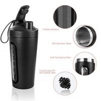 Proteína Garrafa Shaker  Garrafa de Água de Esportes de Aço Inoxidável Copo Shaker  Vazamento de Prova  BPA Livre Garrafas Shaker     -