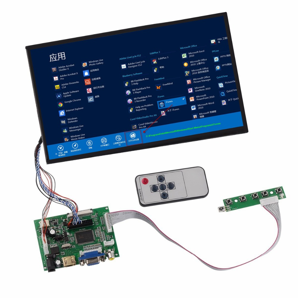 цены на 10.1 HD LCD Display Screen High Resolution Monitor Remote Driver Control Board 2AV HDMI VGA For Raspberry Pi Mini computer