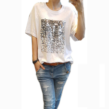 hirigin Women Summer Casual short Sleeve Sequin T-shirt Plain White Basic Tee  Tops e67914ff428d
