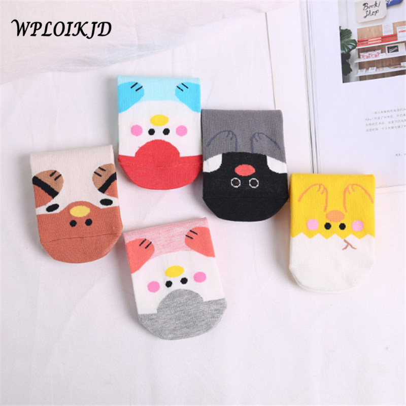 [WPLOIKJD]Spring/Summer Candy Color Comfort Short Socks Stealth Lovely Ankel Cartoon Cotton Socks Women Ears harajuk