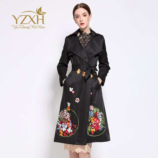 Europe's New Spring and Autumn 2017 Long Sleeve Lapel Embroidery Cultivate One's Morality Dress Pendulum Trench Coat for Women