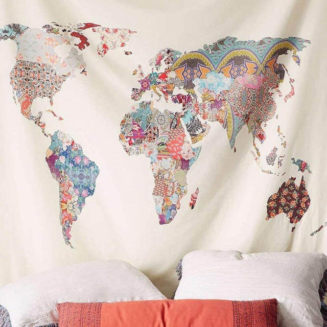 Floral World Map Tapestry Wall Hangings Yellow Purple Watercolor Headboard  Wall Art for Bedroom Dorm Decor