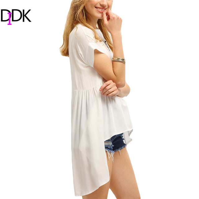DIDK Plain White High Low Pleated T-shirt Summer Fashion T shirts For Women Tops New Short Sleeve Round Neck Casual Tee