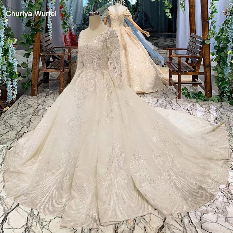 LSS486 high quality wedding dresses royal long train v neck long sleeve shiny bride dress wedding