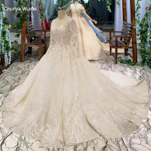 LSS486 high quality wedding dresses royal long train v-neck long sleeve shiny bride dress wedding gown 2019 new fashion design(China)