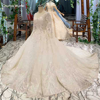 LSS486 high quality wedding dresses royal long train v-neck long sleeve shiny bride dress wedding gown 2019 new fashion design - DISCOUNT ITEM  50% OFF All Category
