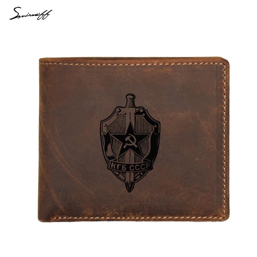 Custom Engraved Soviet Union KGB Logo Wallet Male Genuine Leather Purse FRID Blocking Small Coin pocket Purse Vintage Men Wallet wallet