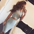 Elastic Crop Top and Skirt Set Summer Short Sleeve Conjunto Feminino Sexy Slim Top and Skirt Grey Casual Outfit Party Clubwear