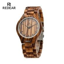 REDEAR 지브라 목조 남성 시계 톱 브랜드 고급 세련된 시계 쿼츠 시계 시계 브랜드 선물 종이 선물 상자에서 시계