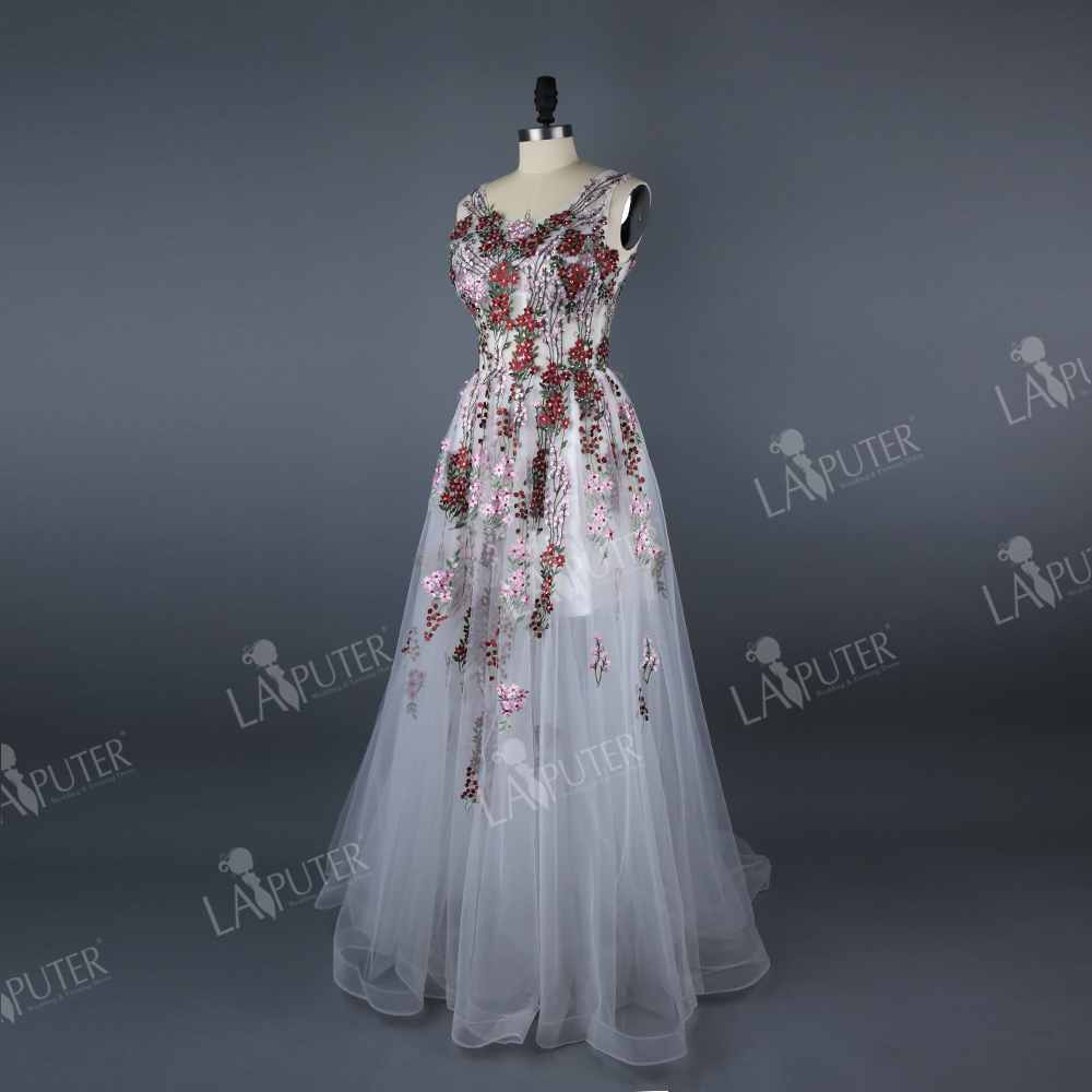 5efda876c731 Real Photos Floor Length Long Printed Embroidery Flower Evening Dress A  line White Chiffon Prom Dresses Party Sweep Train Zipper-in Evening Dresses  from ...