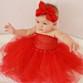 Solid Red Color Headband BabyTutu Dress Wedding Birthday Christmas Girls Infant Tutu