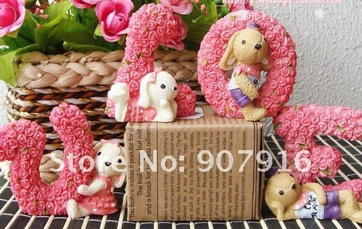 resin craft arts lovely rabbit love rose animal doll handicraf desk office car home decoration gift  friends