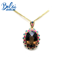 Bolaijewelry,925 sterling silver gemstone pendant necklace  natural smoky quartz fine jewelry for women anniversary party gift natural pink stone pendant s925 silver natural gemstone pendant necklace trendy elegant cute crown women party fine jewelry