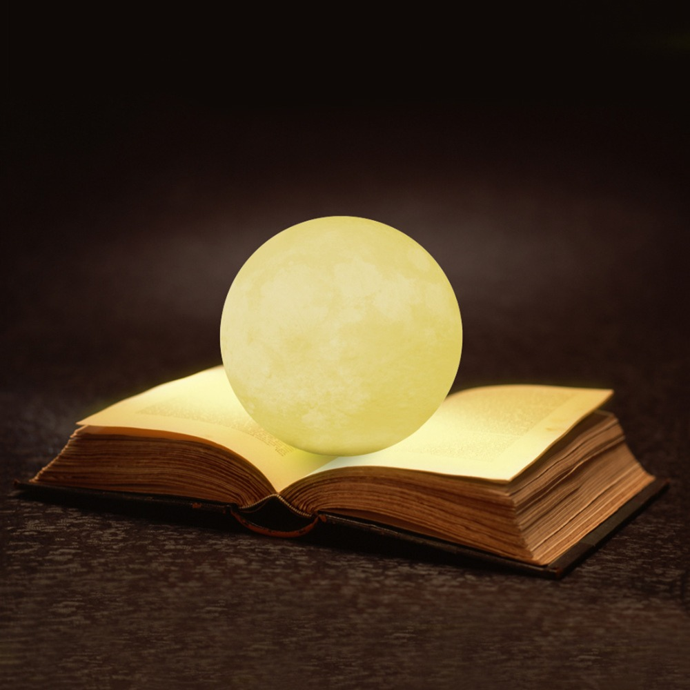Rechargeable 3D Lights Print Moon Lamp 3 Color & 7 Color Change Touch Switch Bedroom Bookcase Decoration Miniature Creative Gift