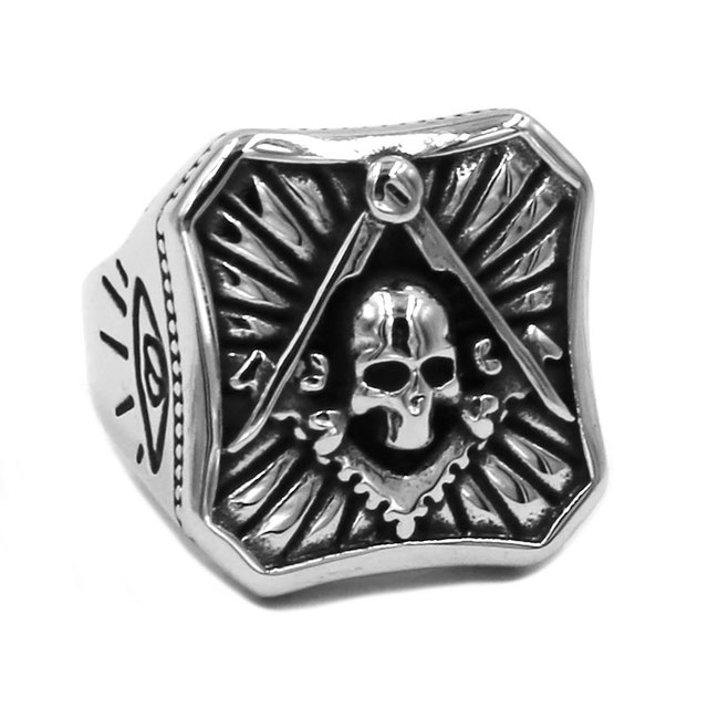 c33a92df43e03 US $2.99 |All Seeing Eye Skull Masonic Ring 316L Stainless Steel Jewelry  Classic Freemasonry Motor Biker Men Ring Wholesale SWR0749-in Rings from ...