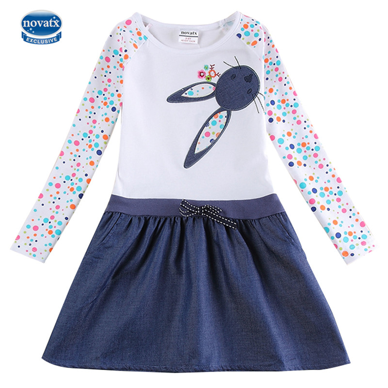 Novatx H5922 White Girls Dresses Autumn Winter Baby