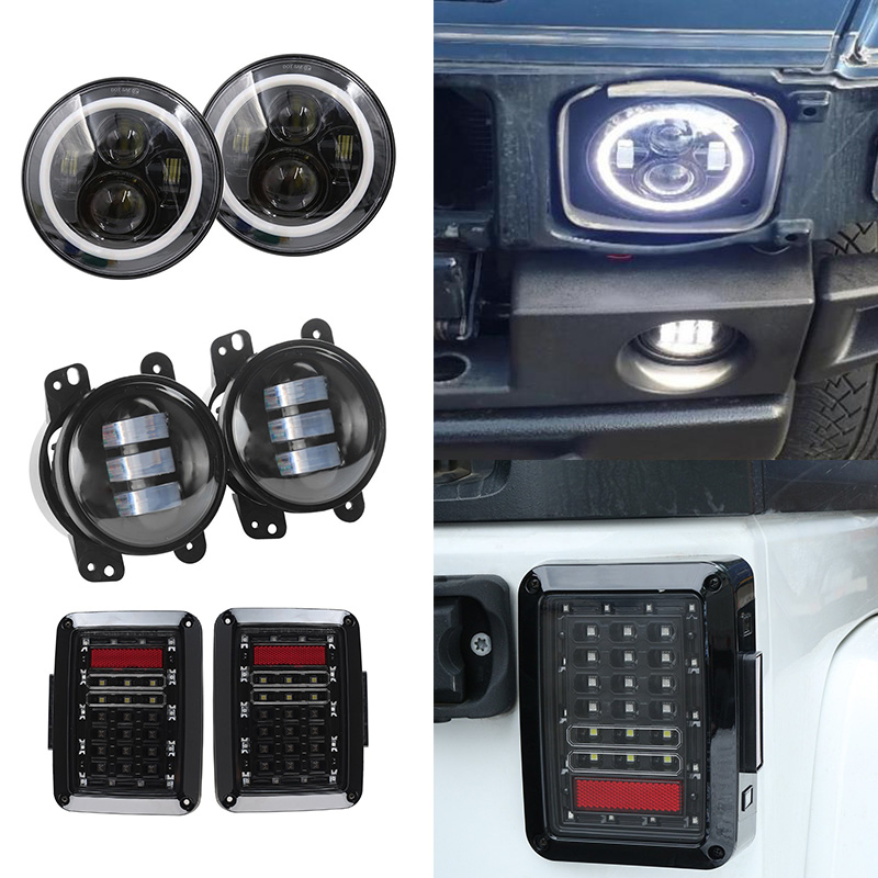 For Jeep Wrangler JK 7 inch Round LED Headlamp with White Halo Angel eyes + LED Tail Light + 4 INCH LED Front Bumper fog light for jeep wrangler jk anti rust hard steel front