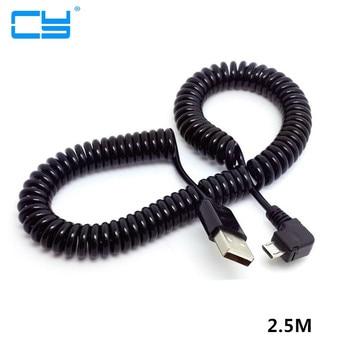2,5 m 250cm 0,8 m 80cm ángulo recto 90 grados USB 2,0 Micro macho A un tipo macho Cable de datos elástico para Tablet SSD teléfono móvil