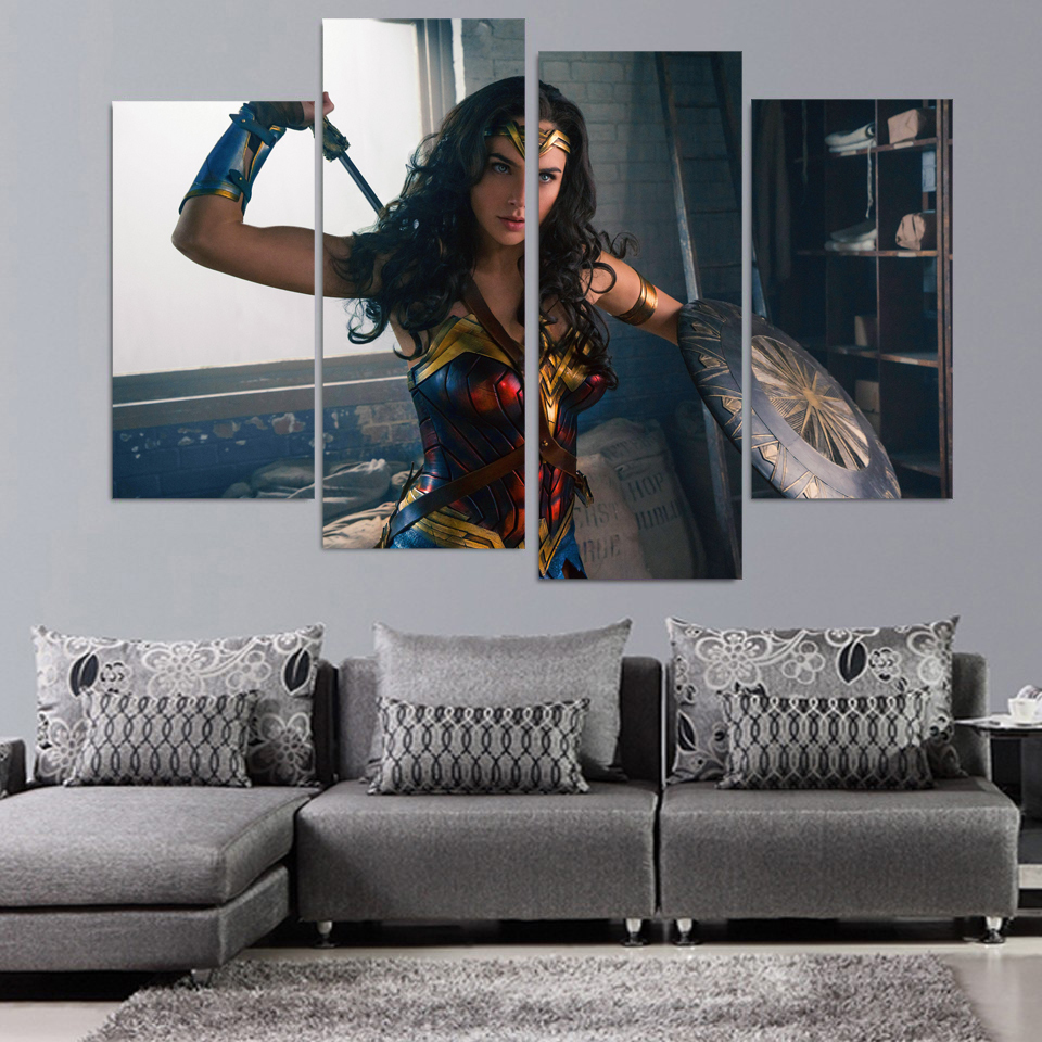 4 Stücke Wonder Woman Filmplakat Wandkunst Bild Home Decoration ...