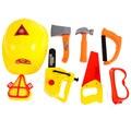 8 unids/set Constructores De Plástico Accesorios de Fiesta de Disfraces de Fantasía del Niño Set Sombrero Blinke Herramientas Set Niños Herramientas de Reparación Juego