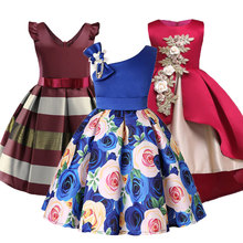 Baby Girls Flower Striped Dress For Girls Formal Wedding Party Dresses Kids Princess Christmas Dress Children