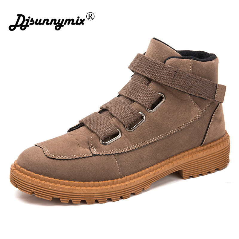 DJSUNNYMIX Fashion Men Boots High Quality PU Leather Ankle Boots Autumn winter Motorcycle Shoes male Casual Shoes size 39~44