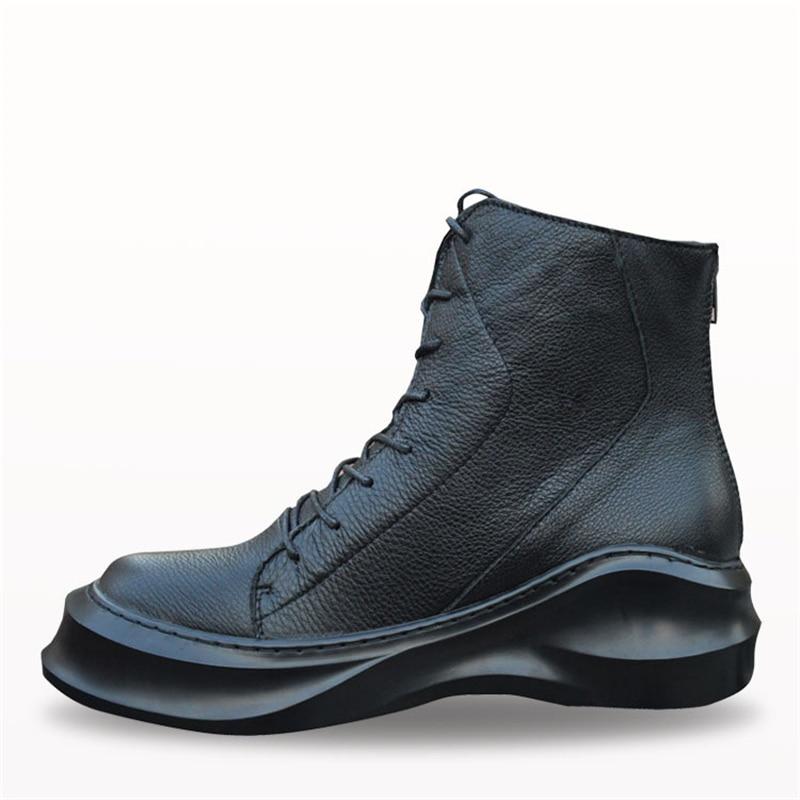 ลูกไม้ขึ้นรูปนางแบบหนังแท้แบรนด์แฟชั่นชายสบายๆhightopรองเท้าสูงรองเท้าสูงด้านบนหนาแต่เพียงผู้เดียวแพลตฟอร์มฮาราจูกุรองเท้าผู้ชาย-ใน รองเท้าบู๊ทมอเตอร์ไซค์ จาก รองเท้า บน   3
