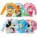 Niños de Manga Larga Camiseta de Los Niños Muchachas de Los Muchachos de la Historieta Pato Donald Minnie Micky Mouse Camiseta De Algodón Tops Tees Primavera Ropa de Bebé
