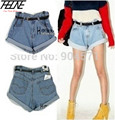WITH BELT! New Retro High Waisted Vintage Flange Crimping Washed Roll-up Loose  Women Jeans Denim Shorts Hot PROMOTION