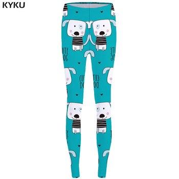מכנסיים חותלות כלב יפה KYKU עבור מכנסיים צועד נשים גבוהה מותן leggins ספנדקס למתוח גבירותיי קיץ החדש