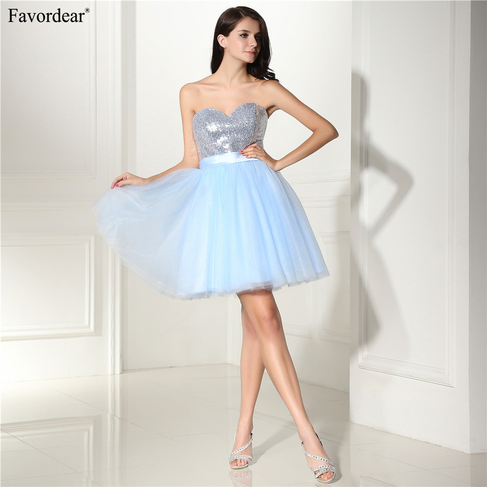 Favordear 2018 New Cute Mini Party Gowns Sweetheart Sequins Tulle Homecoming Dresses Pink Light Blye Purple Navy