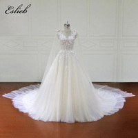 Stunning A Line Tulle Illusion Sexy Flower Lace Bodice Bridal Gown With Shawl Fairy Sheer Back Princess Bridal Gown Custom Size
