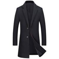 Winter Men Coat Wool Warm Thick Long Overcoat Men Wool Blend Casual Slim Mans Coat Jacket Plus Size Manteau laine Homme Hiver