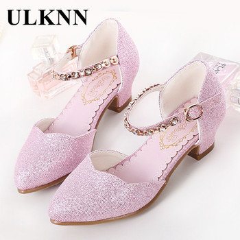 ULKNN Princess Girls Sandals Kids Shoes For Girls Dress Shoes Little High Heel Glitter Summer Party Wedding Sandal Children Shoe 1