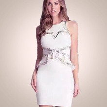 New Arrival High Quality Sleeveless White Beading Bandage Dress Cocktail Party Dress