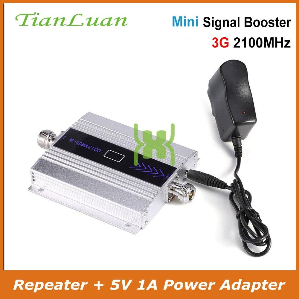TianLuan Mini W-CDMA WCDMA UMTS Repetidor de Sinal de Reforço De Sinal 2100 mhz 3g 3g Amplificador de Sinal de Telefone Celular com 5 v fonte de Alimentação