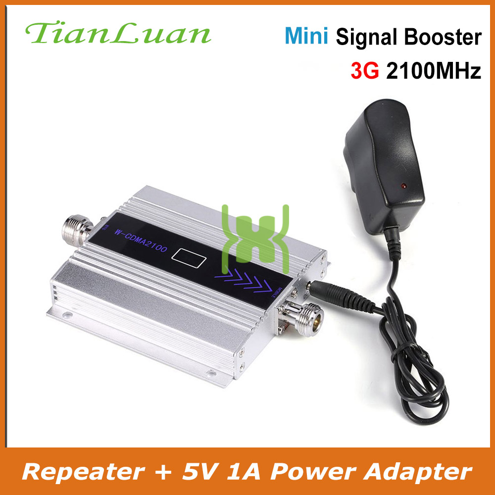 TianLuan Mini W-CDMA amplificador de señal 2100 MHz 3G repetidor de señal WCDMA UMTS 3G celular amplificador de señal de teléfono con 5 V fuente de alimentación