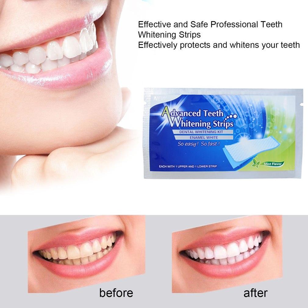 20Pcs/10pair Tooth Whitening Strip Professional Dental Teeth Whitening Strip Bleaching Blanqueador Advanced Teeth Strips TSLM2