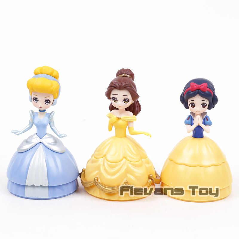 Animação Dos Desenhos Animados Princesa Branca de Neve Cinderela Belle PVC Figuras Brinquedos Dolls Presentes Meninas 3 pçs/set