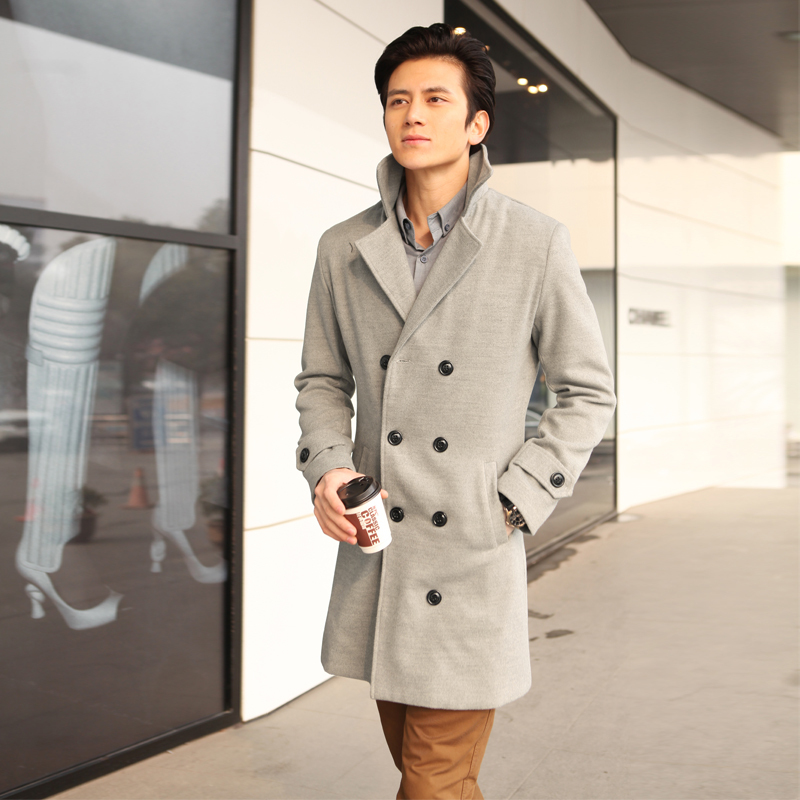 Spring autumn Black grey khaki Double breasted men trench coat ...