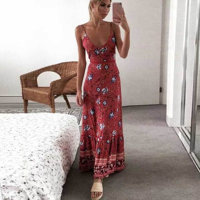 9cb2cbbe9a15 BOHO INSPIRED strappy maxi Dresses Red Floral print sexy v-ncek Gypsy  summer dresses Hippie Women dress long boho Vestidos 2019