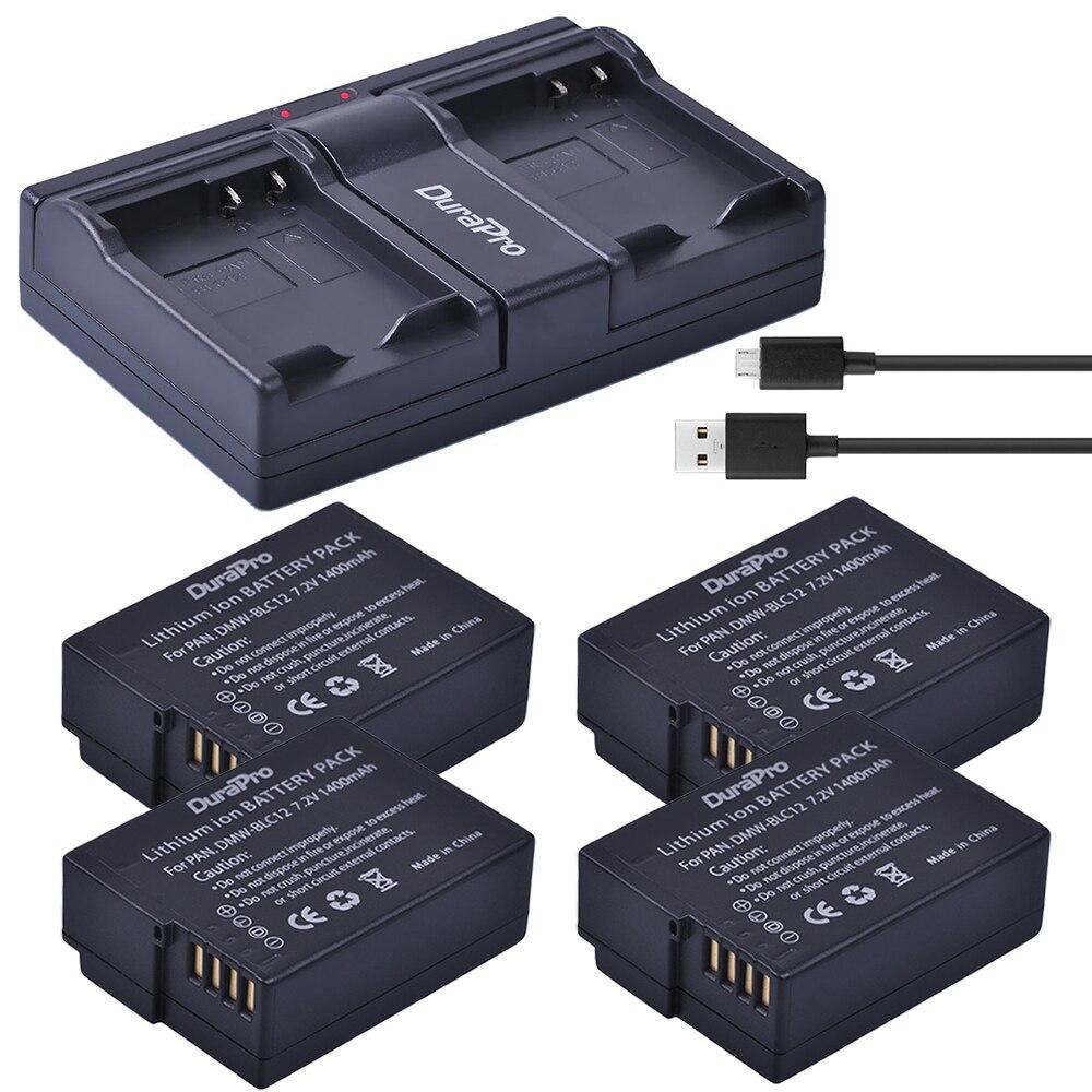 4 pc DMW-BLC12 DMW-BLC12E BLC12 1400 mAh Batterie Li-ion Rechargeable + Double Chargeur pour Panasonic FZ1000 FZ200 FZ300 G5 G6 G7 GH2