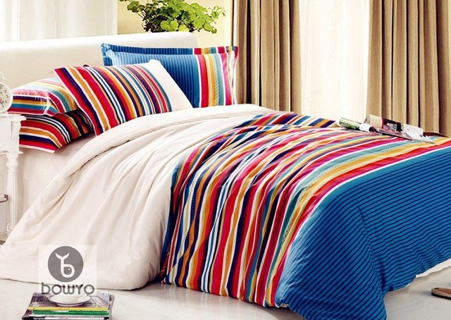 New 4 Pieces Colorful White Luxury Stripe Comforter Bed In A Bag Set