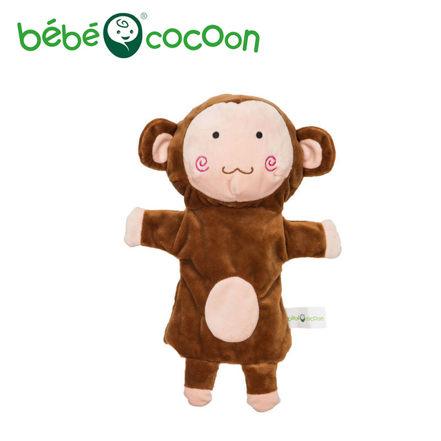 bebecocoon Kids Lovely Animal Plush Hand Puppets Childhood Soft Monkey Shape Story Pretend Playing Dolls Gift For Children