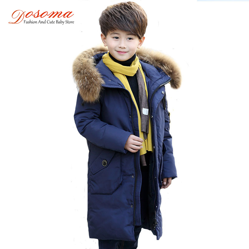 Dosoma Russia Winter Boys Down Jackets Warm Thick Duck Long Down & Parkas Children Fur Hooded Jackets Kids Outerwear -35 Degrees women winter coat leisure big yards hooded fur collar jacket thick warm cotton parkas new style female students overcoat ok238