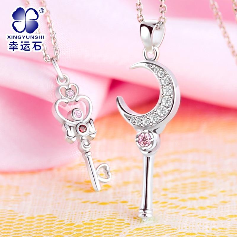 Sailor Moon Figure 925 Sterling Silver Pendant Anime Accessories Kawaii Cosplay Gifts For Women Chibiusa original bandai shokugan sailor moon butterfly ribbon charm key chain sailor moon