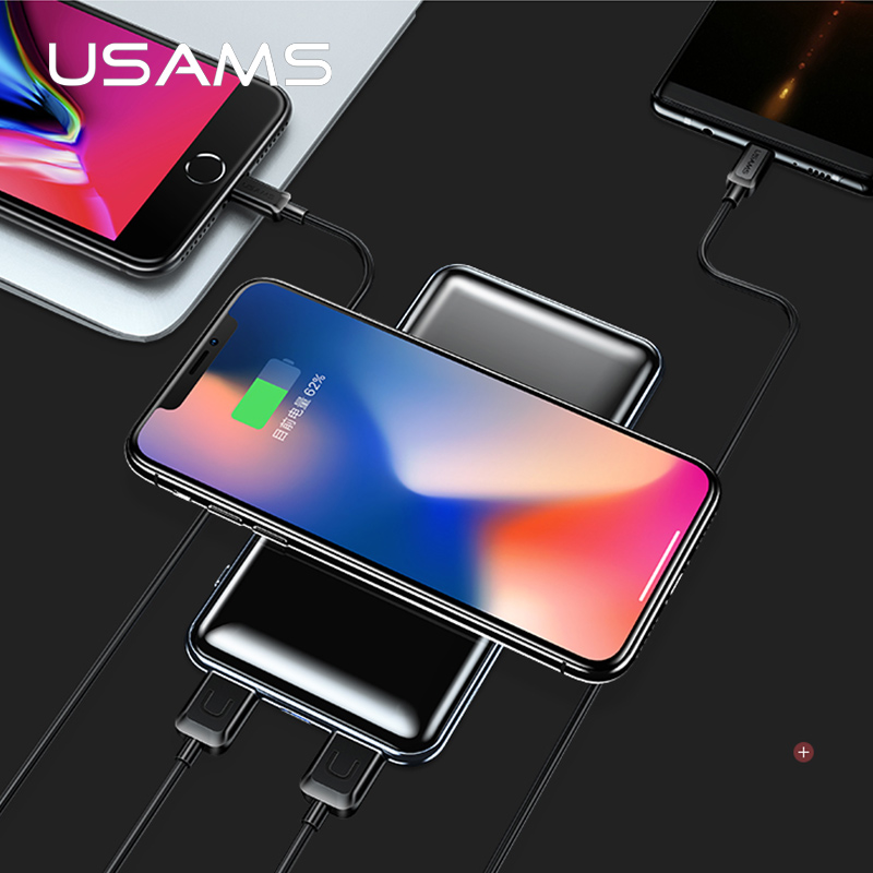 USAMS 5 V 2A PB2 Tipo c micro Porte USB 10000 mah Qi Caricabatterie Wireless Display A LED Banca di Potere Built-In Wireless Ricarica Banca di Potere