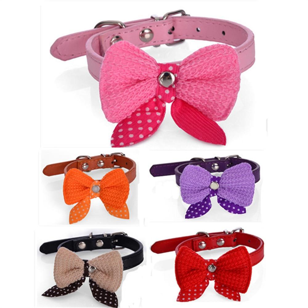 Knit bowknot ajustable cachorro de perro de cuero collares for Collares para perros