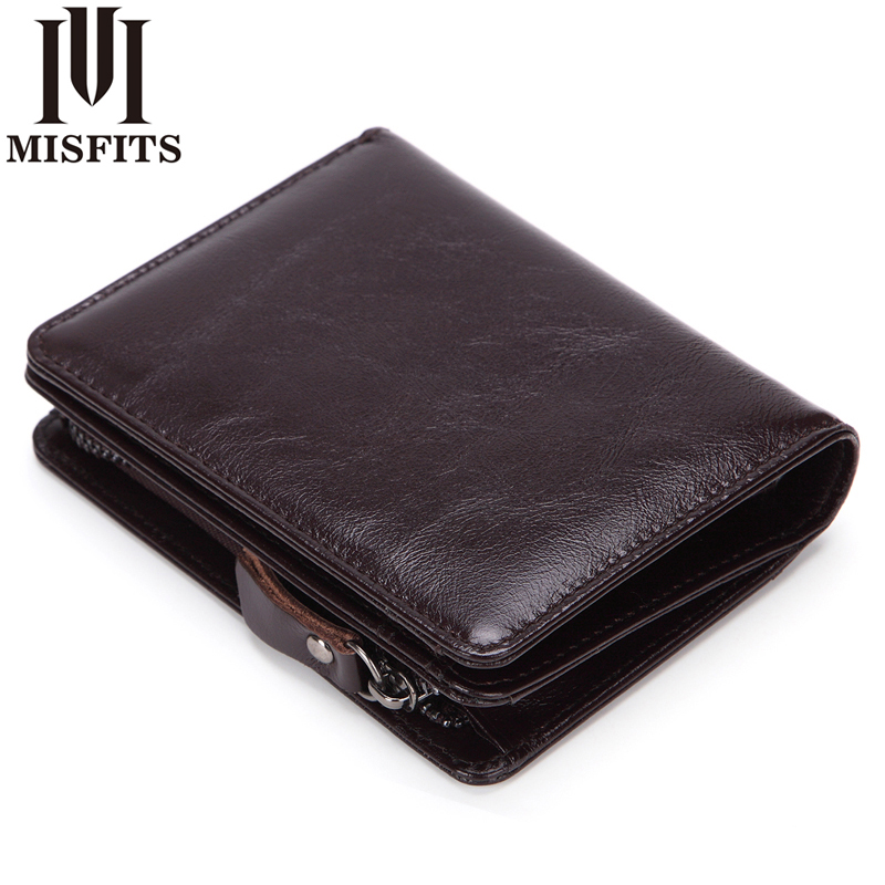 MISFITS Genuine Leather Men Short Wallet Man Cowhide Zipper Coin Purse Small Brand Male Multifunctional Wallet Carteira For Rfid gubintu genuine cowhide leather money clip wallet men slip metal short wallets men slim clutch men wallet small purse for man